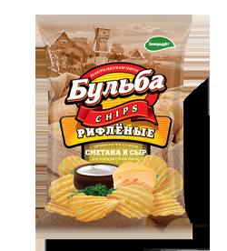 """Чипсы из натурального картофеля """"БУЛЬБА chips"""" со вкусом сметаны и сыра"""